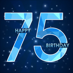 75 year birthday, 75th anniversary polygon emblem