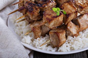 Pork kebabs in soy sauce