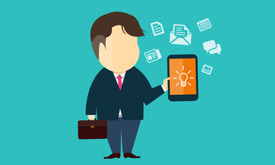 Vector business man  using e business on mobile