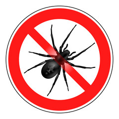 Warnhinweis, Spinne, Vektor, isoliert, rot, schwarz