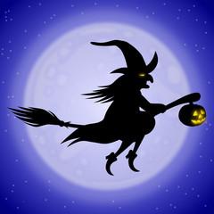 Halloween: Fliegende Hexe auf Besenstil vor Mond, Vektor