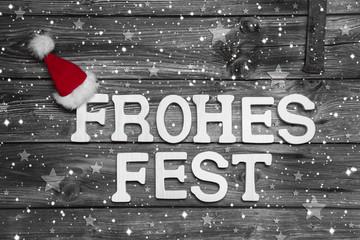 Weihnachtskarte mit Text: Frohes Fest