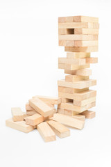 blocks wood game (jenga) isolate on white background.