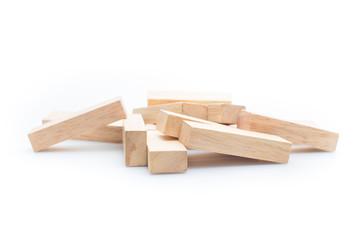 blocks wood game (jenga) isolate on white background.