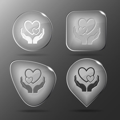 love in hands. Glass buttons. Vector illustration.