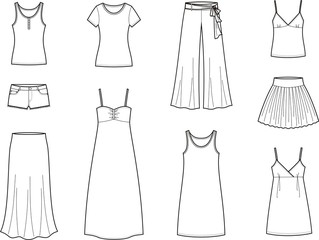 Vector illustration of women's summer clothes