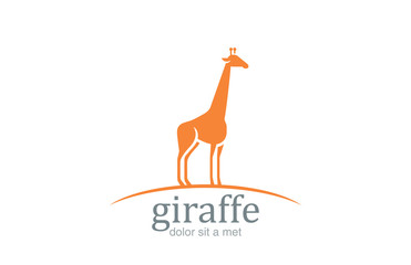 Giraffe Logo silhouette vector design. Wildlife animal