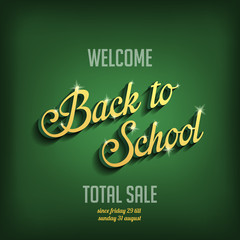 Back to School vector typography design poster template