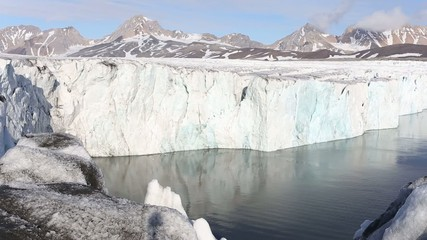 Ice calving from the tidewater glacier - Arctic, Spitsbergen