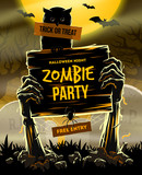 Halloween vector illustration - invitation to zombie party poster