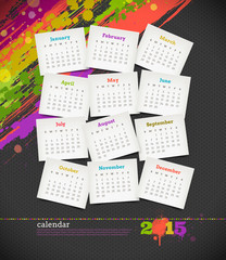 Calendar 2015 with grunge color blots