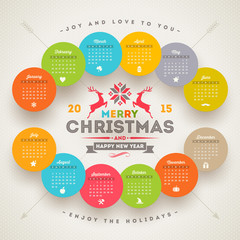 Calendar 2015 with christmas type design