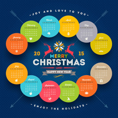 Calendar 2015 with christmas type design elements