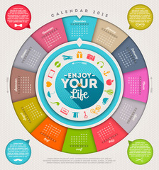 Enjoy your life - calendar 2015 with hipster signs and symbols
