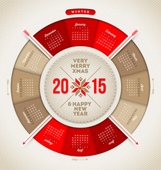Christmas and New year vector calendar 2015