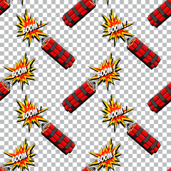 Boom with dynamite pattern. Comic book explosion.