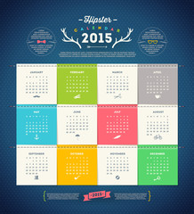 Calendar 2015 with Hipster design elements