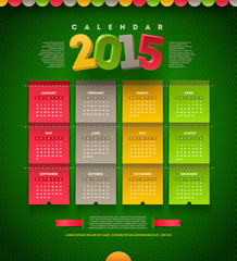 Vector template design - calendar of 2015