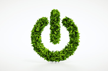 Ecology natural power on button home image with white background