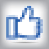 Pixel cursors blue icons - hand and arrow