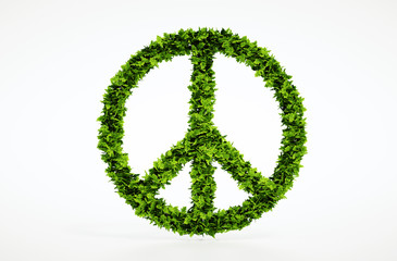 Ecology peace symbol with white background