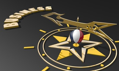 golden compass with france flag pointing the business