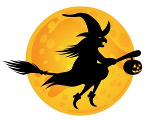 Halloween: Hexe auf Besenstil vor Mond, Vektor/freigestellt