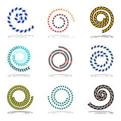 Spiral design elements set.
