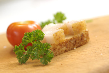 Sandwich with salted lard and tomato