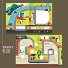 half-fold template of flat design town brochure