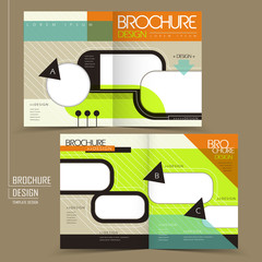 colorful geometric style half-fold template brochure