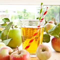 Apfelsaft mit frischen Aepfeln