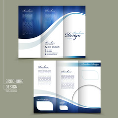 modern style tri-fold template brochure in blue