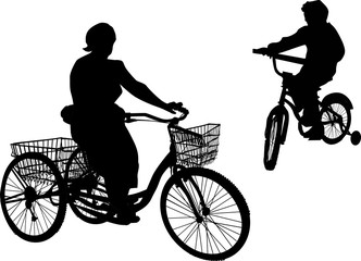 two black bicyclists isolated on white background