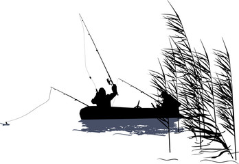 fishermen and boat silhouette in rush isolated on white