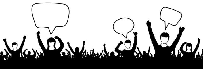 Menschen Gruppe Sprechblasen