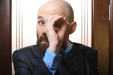 businessman hands spyglass
