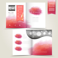 pink template for advertising brochure with pink watercolor spla