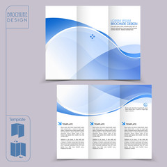 tri-fold blue template for business advertising brochure