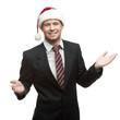 businessman in santa hat smiling