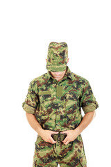Soldier warrior in military camouflage uniform fastened belt