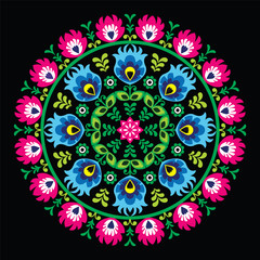 Polish traditional circle folk art pattern on black