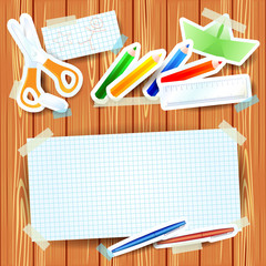 School background with paper elements and blank paper