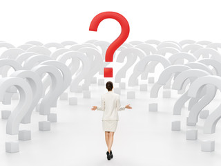 Business woman at a crossroads. Concept of decision-making.