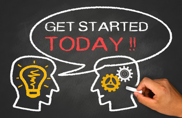 get started today concept on chalkboard
