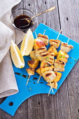 Grilled pork kabobs with peaches