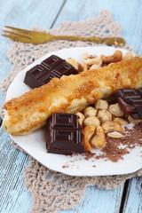 Sweetened fried banana on plate, close-up