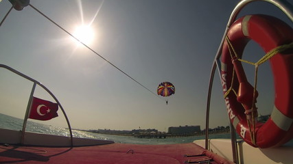 Speed Boat Pulls a Parasailer