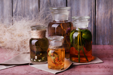 Bottles of herbal tincture