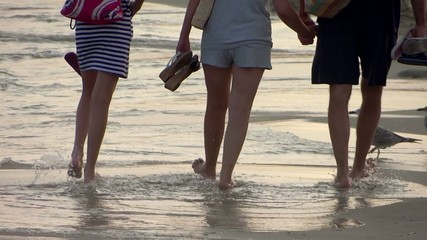 family walking on beach near seagulls at sunset close up